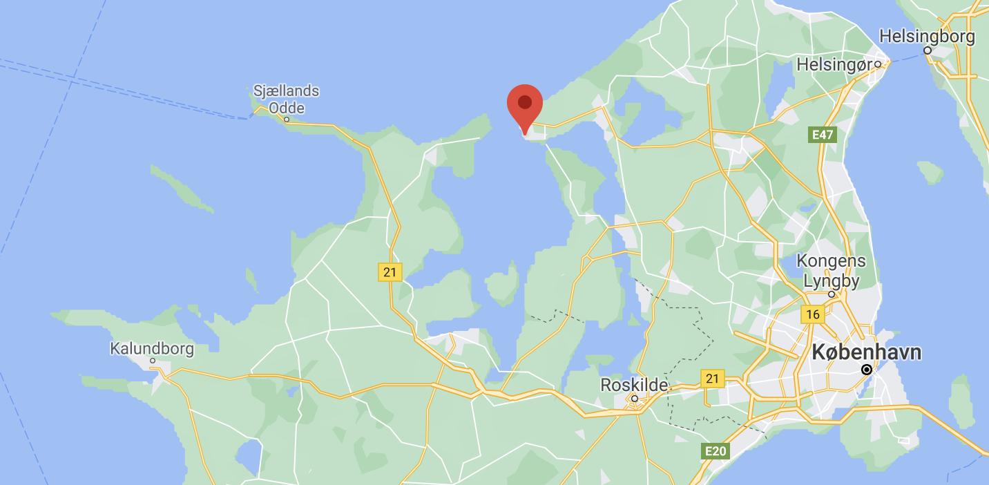 Kortplacering over vandretur i Nordsjælland